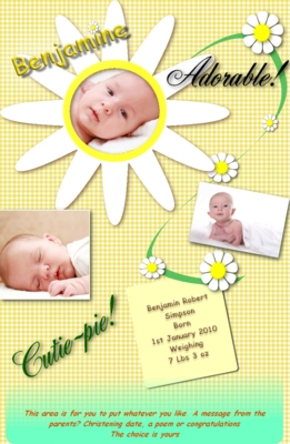 Product picture Daisy web site birth announcement
