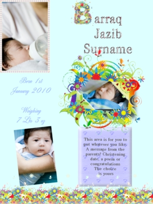 Product picture Flowery blue baby announcements