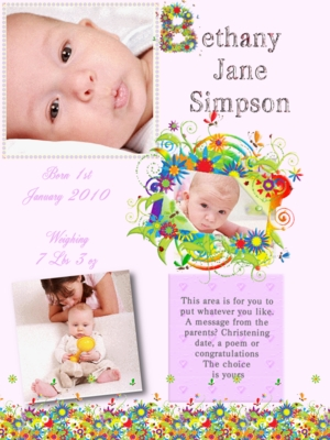 Product picture Pink flowers online birth announcements