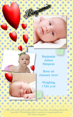 Product picture Love Hearts Birth Announcement
