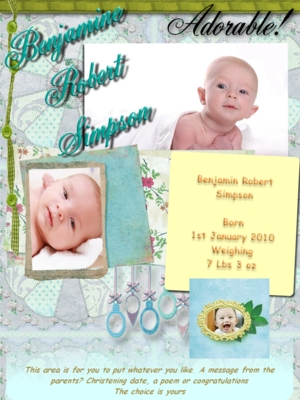 Product picture Beautiful boy online birth announcement